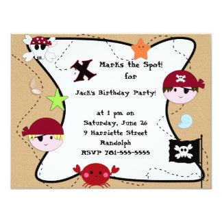 Beställnings- piratfödelsedagsfest för KRW 10,8 X 14 Cm Inbjudningskort