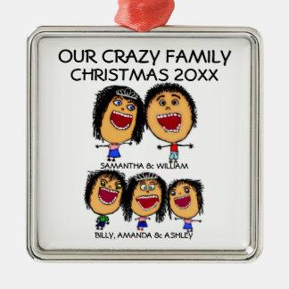 Beställnings- prydnad för familjtecknadjul julgransprydnad metall