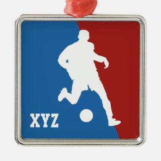 Beställnings- prydnad för fotbollspelare julgransprydnad metall