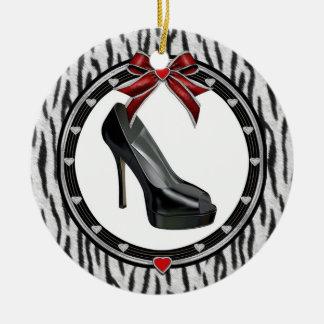 Beställnings- prydnad för svart stilettzebra tryck rund julgransprydnad i keramik