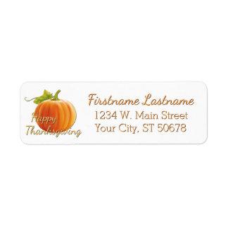 Beställnings- pumpahappy thanksgiving returadress etikett