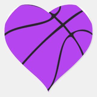 Beställnings- purpurfärgad basket hjärtformat klistermärke