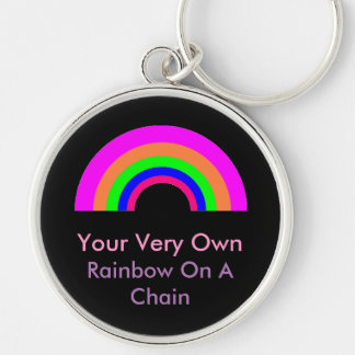 BESTÄLLNINGS- regnbåge på en kedja Rund Silverfärgad Nyckelring