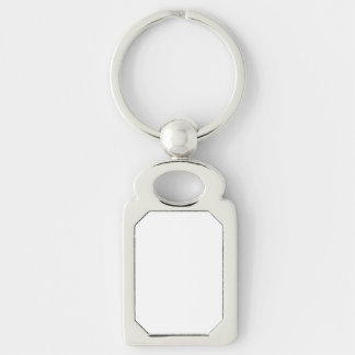 Beställnings- rektangel Keychain Rektangulärt Silverfärgad Nyckelring