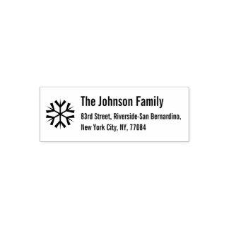 Beställnings- returadress för Snowflakejulhelgdag Självfärgande Stämpel
