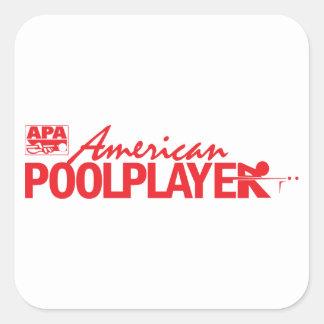 Beställnings- röd amerikanbassängspelare - fyrkantigt klistermärke