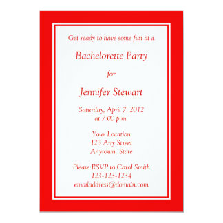 Beställnings- röd Bachelorette partyinbjudan 12,7 X 17,8 Cm Inbjudningskort