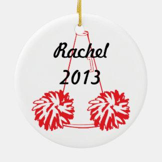 Beställnings- röd Cheerleading prydnad Julgransprydnad Keramik
