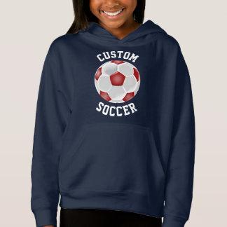 Beställnings- röd tröja för fotbollbollkalleHoodie