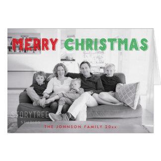 Beställnings- röda gröna god julhälsningkort hälsningskort