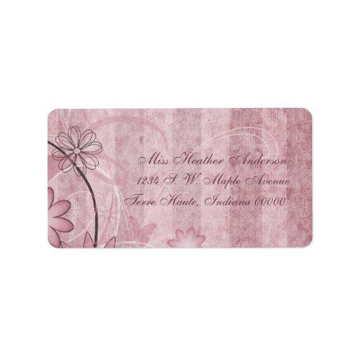 Beställnings- rosa blom- bröllopadressetiketter adressetikett
