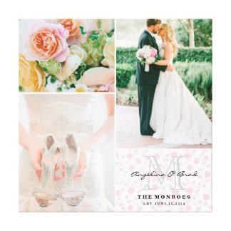 Beställnings- rosa blom- Collage för Monogrambröll Canvastryck