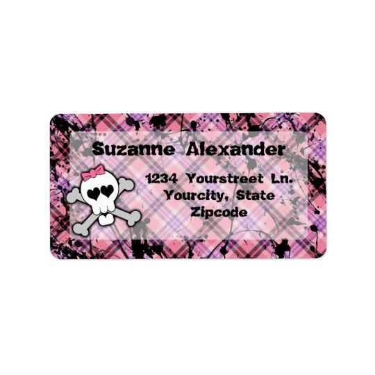 Beställnings- rosa och svart etikett för skallew-C Adressetikett