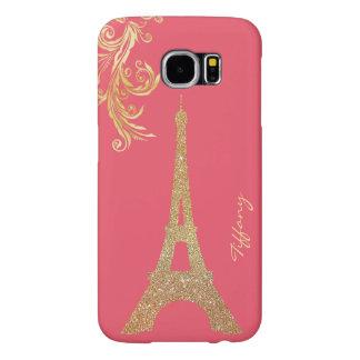 Beställnings- Samsung S6 för guld- Eiffel torn Samsung Galaxy S6 Fodral