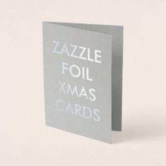 Beställnings- silver omkullkastar julkortet folierat kort