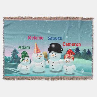 Beställnings- snögubbefamiljtecknad dekorativ filt