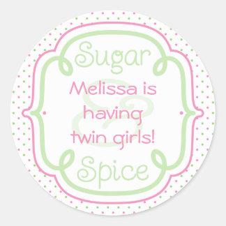 Beställnings- socker- och kryddababy runt klistermärke