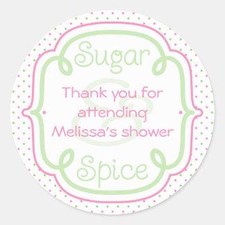 Beställnings- socker- och kryddababy showertack runt klistermärke