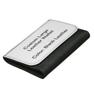 Beställnings- stor läderplånbok (svarten)