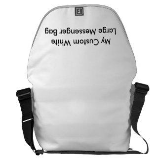 Beställnings- stor messenger bag - vit