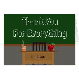 Beställnings- svart tavla för läraretack hälsningskort