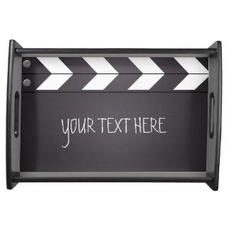 Beställnings- svart tavlaClapboard för film Serveringsbricka
