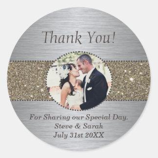 Beställnings- tack som gifta sig klistermärkear runt klistermärke