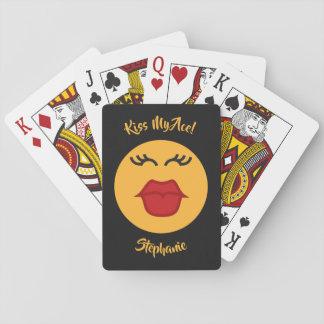 Beställnings- text för kyssande Emoticon som leker Casinokort