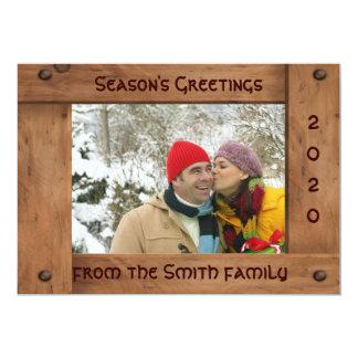 Beställnings- tjockt trä Julhälsningar kort 12,7 X 17,8 Cm Inbjudningskort