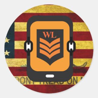 Beställnings- WL-logotypklistermärke Runt Klistermärke