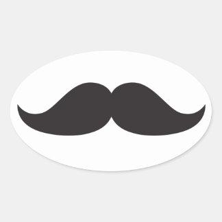 Bestselling Stachin för mustaschgåvaStach humor Ovalt Klistermärke