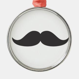 Bestselling Stachin för mustaschgåvaStach humor Rund Silverfärgad Julgransprydnad