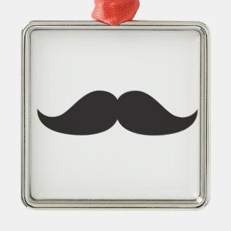 Bestselling Stachin för mustaschgåvaStach humor Silverfärgad Fyrkantigt Julgransprydnad