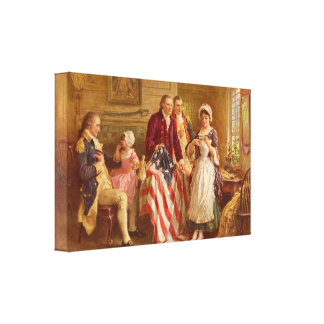 Betsy Ross 1777 vid Jean Leon Gerome Ferris kanfas Canvastryck