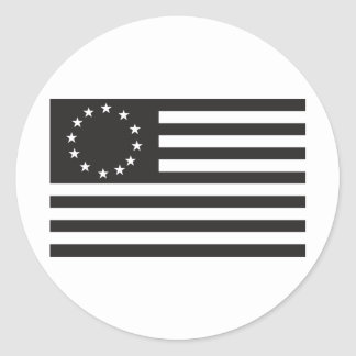Betsy Ross flagga - svart Runt Klistermärke