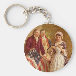 Betsy Ross Keychain Rund Nyckelring