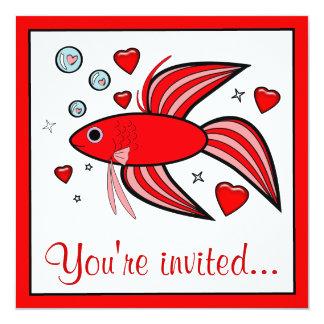 Betta fisk med hjärtavalentin party fyrkantigt 13,3 cm inbjudningskort