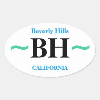 BEVERLY HILLS klistermärkear (4) Ovalt Klistermärke