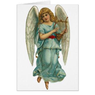 Bevingad ängel och harpa hälsningskort