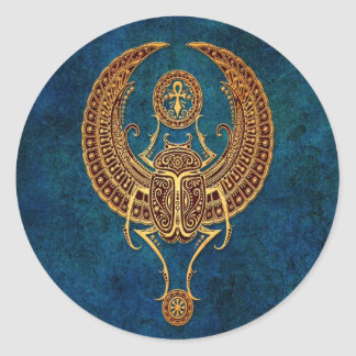 Bevingad egyptisk Scarabskalbagge med Ankh - blått Runt Klistermärke