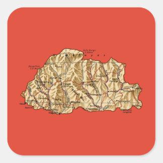 Bhutan kartaklistermärke fyrkantigt klistermärke