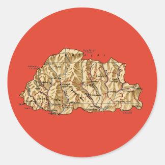 Bhutan kartaklistermärke runt klistermärke