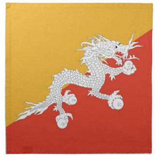 Bhutanesisk flagga på den MoJo servetten Tygservett