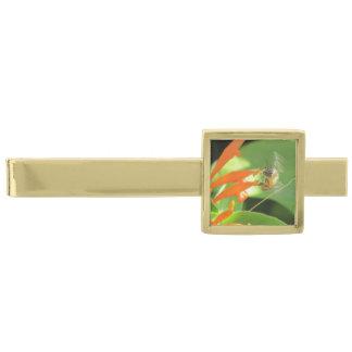 Bi på orange blomma slipsnål med guldfinish