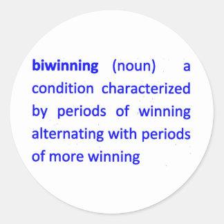Bi-Vinnande definition Runt Klistermärke