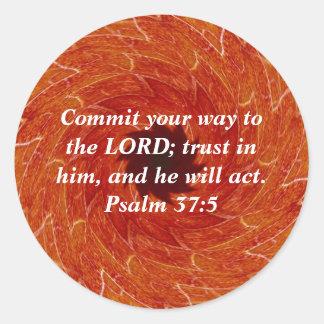 Bibeln Verses Motivational ScripturesPsalm37:5 Runt Klistermärke