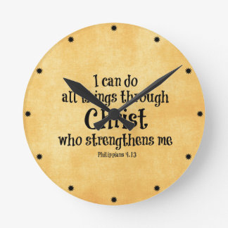 BibelVerse: Jag kan göra alla saker till och med Rund Klocka