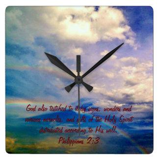 Bibelversen tar tid på - hebré2:4 fyrkantig klocka