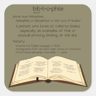 Bibliofilen - ändra färg fyrkantigt klistermärke