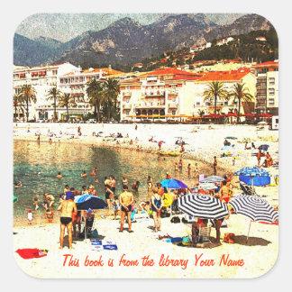 Bibliotek för platsen för stranden för Côte d Azur Klistermärke